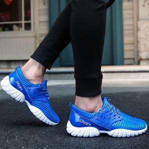 Breathable Patent Leather Mesh Athletic Shoes -