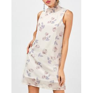 Floral Chiffon Dress - Light Beige - S