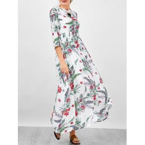 Floral A Line Long Sleeve Flowing Maxi Dress - White - Xl