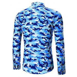 Plus Size Long Sleeve Camouflage Shirt -