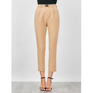 High Waisted Cigarette Pants - LIGHT KHAKI M