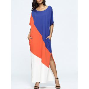 Color Block Slit Short Sleeve T-Shirt Maxi Dress - Multi - 2xl