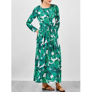 Chiffon Palm Leaf Print Tropical Maxi Dress