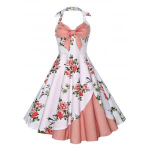 Halter Neck Floral A Line Vintage Dress - Pink - Xl