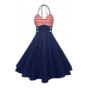 Halter American Flag Vintage Dress
