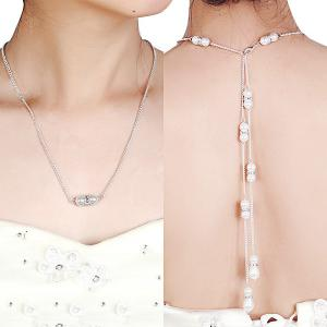 Rhinestone Faux Pearl Pendant Backdrop Necklace