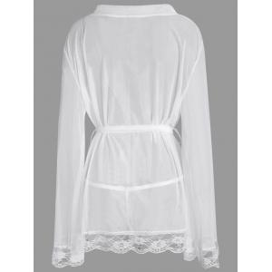 Maillot taille grande voir à travers Robe intime - Blanc 3XL
