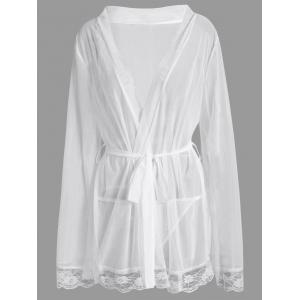 Plus Size Mesh See Thru Intimate Robe - White - 4xl