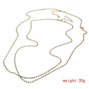 Rhinestone X Shape Sandbeach Body Chain - GOLDEN