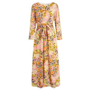 Round Neck Floral Belted Maxi Dress -
