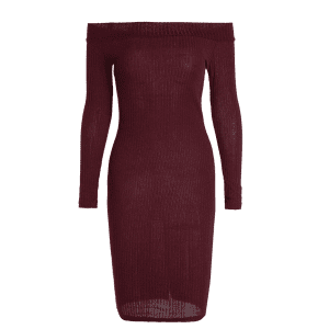 Off Shoulder Long Sleeve Bodycon Formal Dress - WINE RED XL