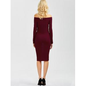 Off Shoulder Long Sleeve Party Bodycon Formal Dress - WINE RED XL