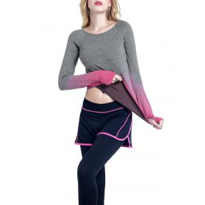 Col rond Ombre Yoga Gym T-shirt - rose L