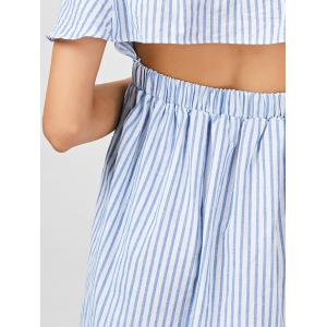 Off The Shoulder Cut Out Striped Dress - STRIPE M