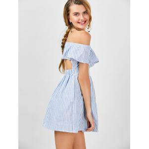 Off The Shoulder Cut Out Robe à rayures -