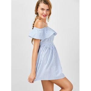 Off The Shoulder Cut Out Robe à rayures - Rayure XL