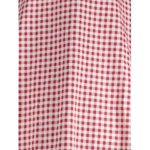 Gingham High Waisted A Line Robe vintage - Rouge S