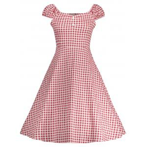 Gingham High Waisted A Line Vintage Dress - Red - Xl
