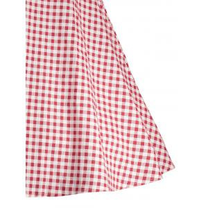 Gingham High Waisted A Line Robe vintage - Rouge 2XL