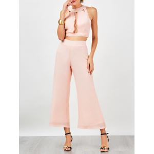 Sleeveless Criss Cross Cut Out Chiffon Suit