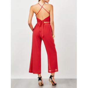 Criss Cross Backless High Waist Chiffon Suit - Red - Xl