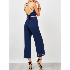 Criss Cross Backless High Waist Chiffon Suit - Royal - S