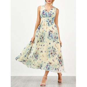 Bohemian Butterfly Print Tea Length Maxi Dress - Palomino - 2xl