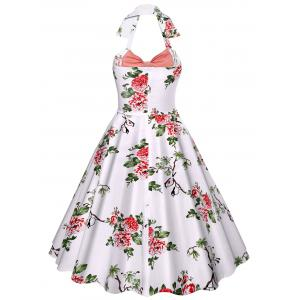 Halter Neck Floral A Line Vintage Dress -