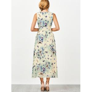 Bohemian Butterfly Print Tea Length Maxi Dress -