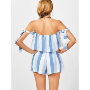 Stripe Strapless Top and High Waisted Shorts - BLUE AND WHITE XL
