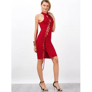 Criss Cross Backless Bodycon Cocktail Club Dress - Rouge XL