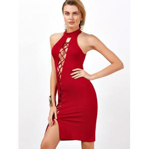 Criss Cross Backless Bodycon Cocktail Club Dress - Rouge L