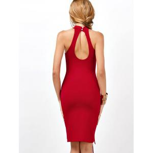 Criss Cross Backless Bodycon Club High Neck Dress - RED S