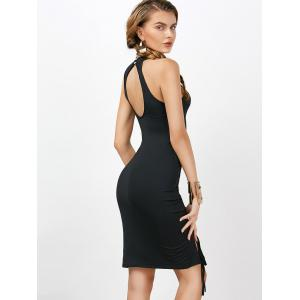 Criss Cross Backless Bodycon Cocktail Club Dress - Noir S