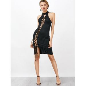 Criss Cross Backless Bodycon Club High Neck Hot Dress -