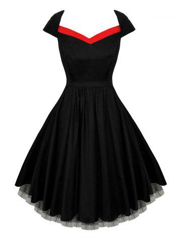 Trendy Mesh Insert Skater Vintage Dress