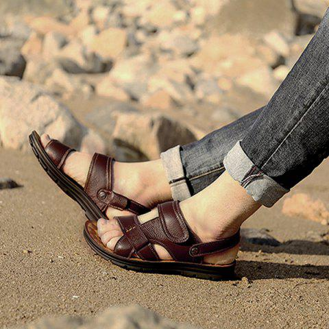 Affordable Stitching Faux Leather Sandals - 44 DEEP BROWN Mobile