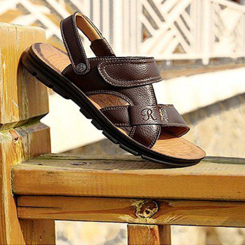 Fancy Stitching Faux Leather Sandals - 44 DEEP BROWN Mobile