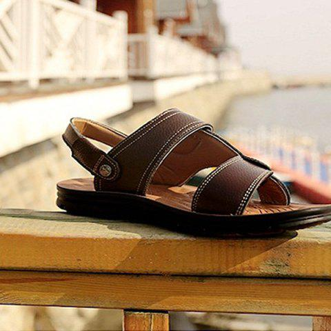 Trendy Stitching Faux Leather Sandals - 44 DEEP BROWN Mobile