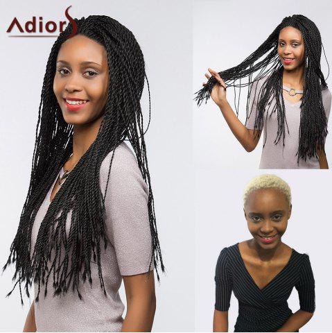 Discount Adiors Front Lace Senegal Twists Long Braids Synthetic Wig - 26INCH JET BLACK 01# Mobile