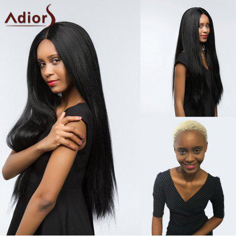 Affordable Adiors Dyeable Perm Long Center Part Silky Straight Lace Front Synthetic Wig - 26INCH JET BLACK 01# Mobile
