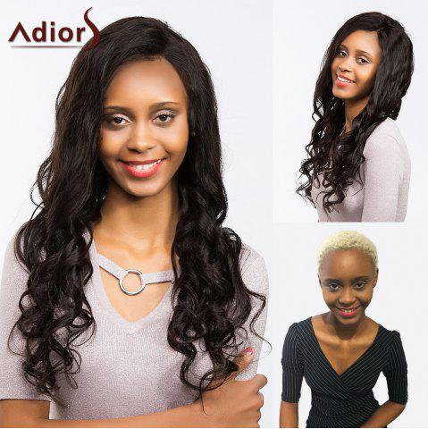 Fancy Adiors Perm Dyeable Long Free Part Wavy Lace Front Synthetic Wig - 24INCH JET BLACK 01# Mobile