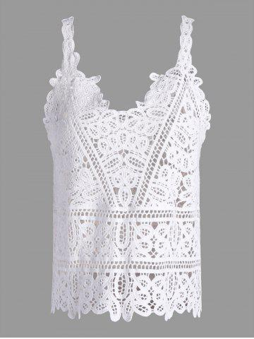 Crochet Openwork See Through Tank Top - White - One Size