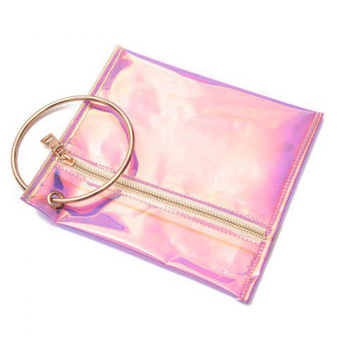 Unique Metal Ring Transparent Laser Clutch Bag - PINK  Mobile