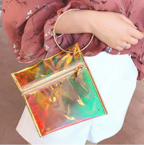 Metal Ring Transparent Laser Clutch Bag - Yellow - 17