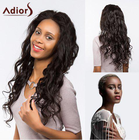 Fashion Adiors Perm Dyeable Long Free Part Curly Lace Front Synthetic Wig - 24INCH JET BLACK 01# Mobile