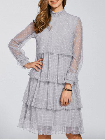 Fashion Long Sleeve Polka Dot Tiered Chiffon Flowy Dress