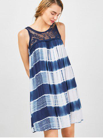 Outfits Sleeveless Tie Dye A Line Casual Swing Dress - L BLUE AND WHITE Mobile