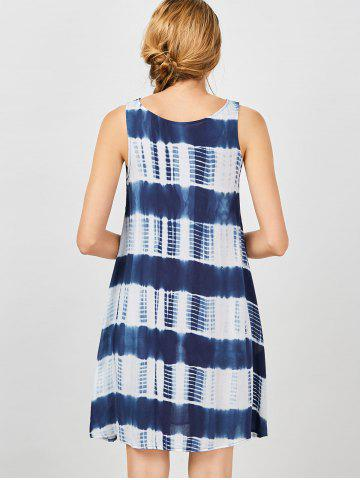 Trendy Sleeveless Tie Dye A Line Casual Swing Dress - L BLUE AND WHITE Mobile