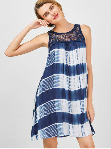Fancy Sleeveless Tie Dye A Line Casual Swing Dress - L BLUE AND WHITE Mobile